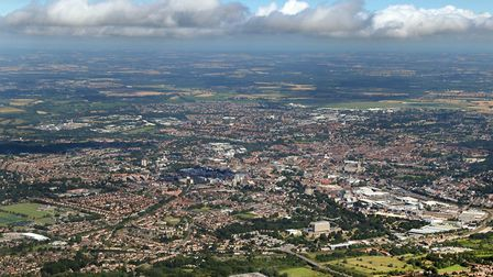 Aerial view of Norwich. Picture: Mike Page