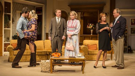 The cast of How The Other Half Loves which is at Norwich Theatre Royal. Photo: Pamela Raith