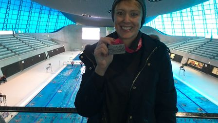 Jo Wharam at the Queen Elizabeth Olympic Park London Aquatics Centre after swimming 10,000m in under