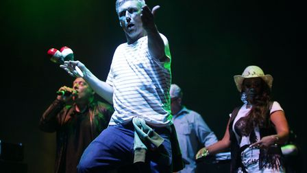 Bez of The Happy Mondays performing with Shaun Ryder and the band. Photo: Yui Mok/PA Wire