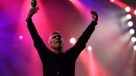 Bez of Happy Mondays performing with trademark maracas dancing. Photo: Yui Mok/PA Wire
