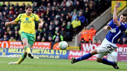 Norwich City's Grant Holt scores his hat trick goal against Ipswich Town at Carrow Road in November