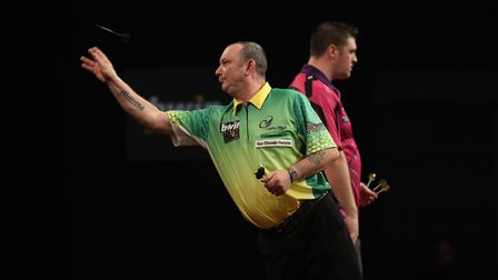 Darren Webster is through to the second round at the Grand Slam of Darts. Picture: Lawrence Lustig