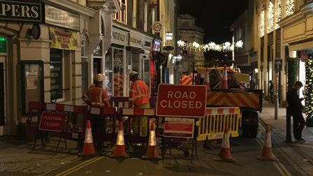 Exchange Street in Norwich was closed so a water leak could be fixed. Pic: Archant.
