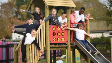 Carbrooke school children came out for the official opening of the new play area in the village. Pic