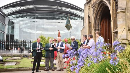 Judges meeting the Norwich in Bloom team and take a tour of Norwich. Pictured at St Peter Mancroft C