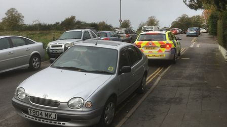 Police in Britannia Road where a child suffered slight injuries after being hit by a car. Picture: A