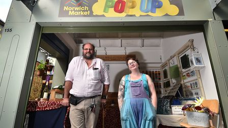 Norwich Market pop up stalls. Stall holders Paul Williams and Jenny Walker.Picture: ANTONY KELLY