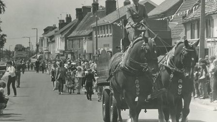 The Eastern Daily Press Horse and Dray joins in the procession of floats during the Watton Carnival,