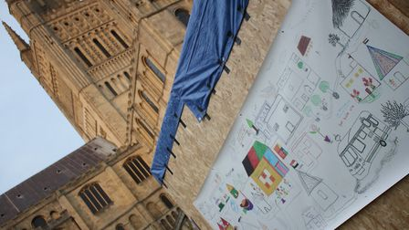 Refugee artwork displayed at Norwich Cathedral as part of Being Human festival. Photo: Refugee Histo