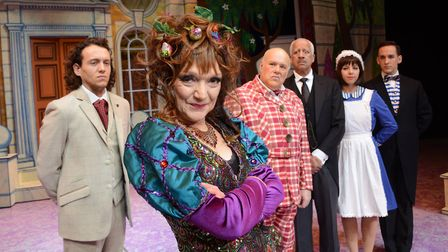 Stephen with the cast of Norwich Theatre Royal panto Sleeping Beauty. Photo: Simon Finlay