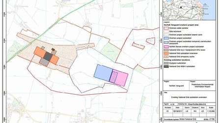 Location of proposed infrastructure in Necton based on the recently released PEIR document. Picture:
