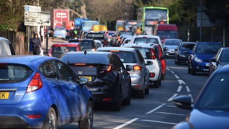 A general view of morning rush hour traffic along Bracondale in Norwich. Picture: Denise Bradley