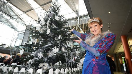 Christmas lights switch on at The Forum in Norwich. Norwich Theatre Royal panto star Gillian Wright