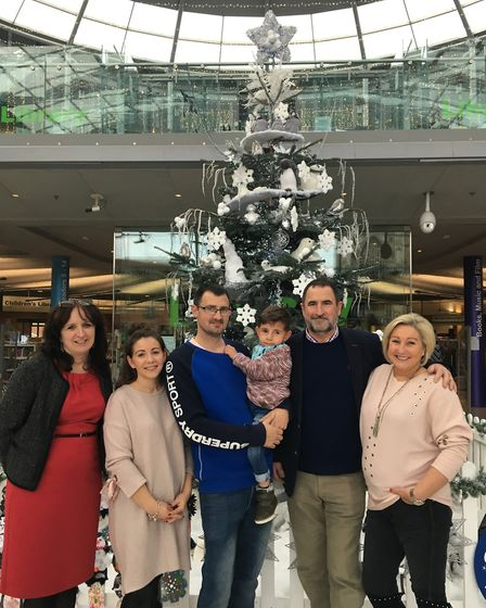 Elliott Frary, 3, and his family gathered at the Forum in Norwich to celebrate the switching on of t