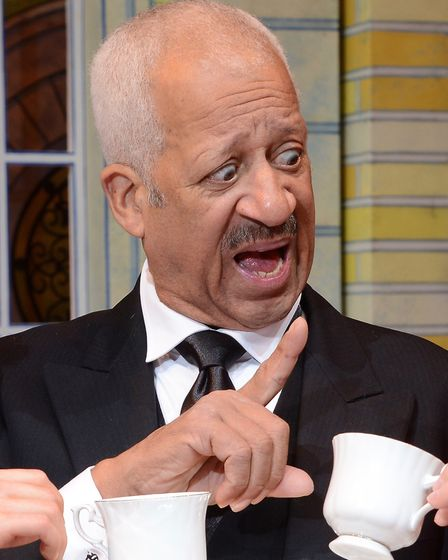 Derek Griffiths as butler Chortwood in Norwich Theatre Royal pantomime 2017 Sleeping Beauty.Photo: S