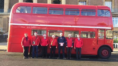 The Routemaster's driver and conductor team along with Chris Elliott from The Benjamin FoundationPic