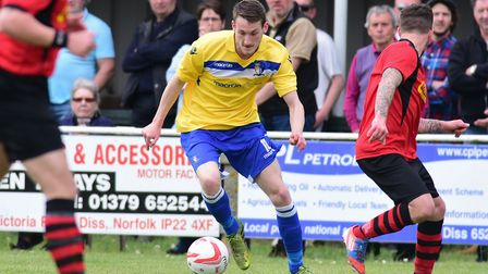 Adam Hipperson was on target for Norwich United in their defeat at Grays. Picture: Denise Bradley