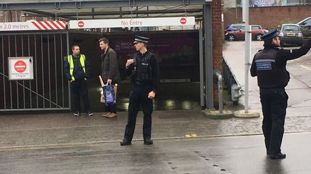 Police at the Forum, after they were called to reports of a small explosion in a bin. Picture: Archa