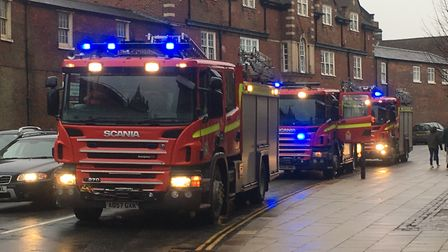Fire engines responding to reports of a small explosion at the Forum. Picture: Archant staff