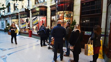 Queues are one of the annoying things about Christmas in Norwich. Picture: ANTONY KELLY
