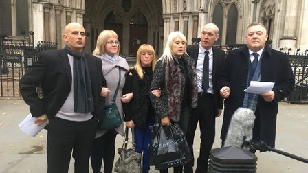 Family and friends of Kerri McAuley outside the Appeal Court in London. Pic: Peter Walsh.