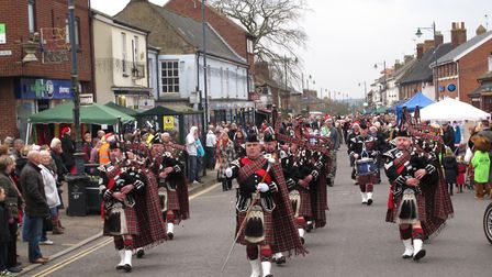 The City of Norwich Pipe Band perform at a previous Watton Festive Market. Picture: Archant Library
