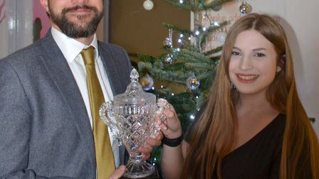 Glen Allot presenting Hannah Kemp with the principal's award. Picture: TEN Group