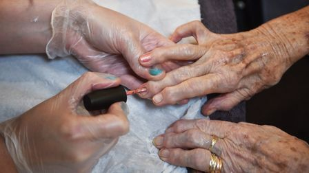 Residents at Whitehall Lodge Care Home, in Norwich, being treated to a beauty session.Picture: ANTON
