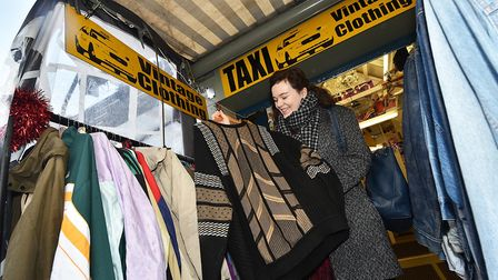 Norwich Market - ten best things. Finley Kidd at the Taxi Vintage Clothing stall.Picture: ANTONY KEL