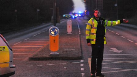 Initial work is to start in January to widen Watton Road, Colney. Police at the scene of the serious