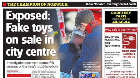 The Evening News article on fake Fingerlings being sold in Norwich. Image: Archant