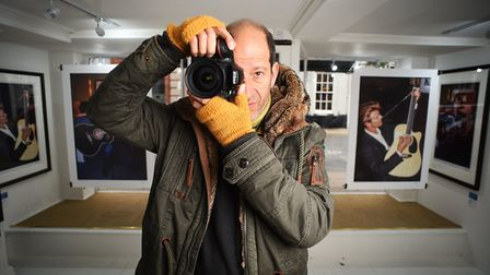 Photographer David Koppel at his David Bowie exhibition at St Giles Street Gallery.Picture: ANTONY K