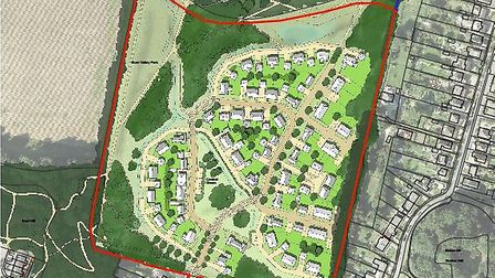 Illustrative masterplan for 83 homes north of Farmland Road, Costessey. Picture: Fellden and Mawson