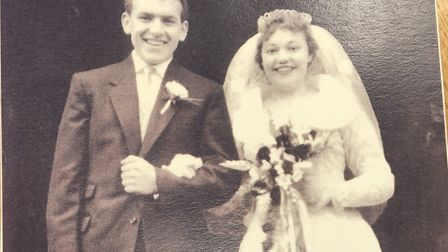 Don and Jean Nichols on their wedding day on December 7 1957 outside St Philip's Church in Norwich.