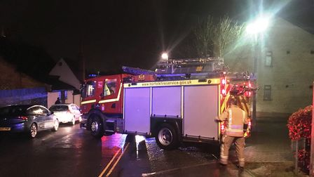 Police and fire crews were called to attend two unrelated incidents in a Norwich street. Picture: AN