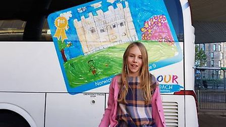 Colour the Coach 2017 winner Maya White. Picture: National Express