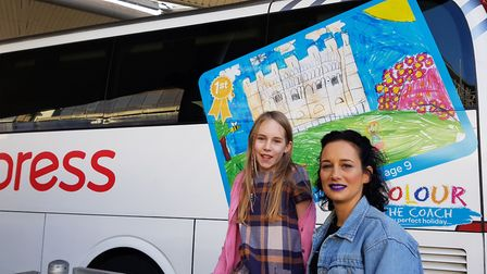 Colour the Coach 2017 winner Maya White with artist and judge Ruth Knapp. Picture: National Express