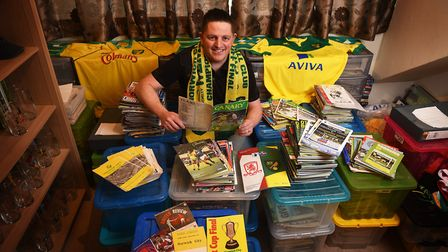 David Thornhill with his match programmes and memorabilia. He had to step up as fourth official in N