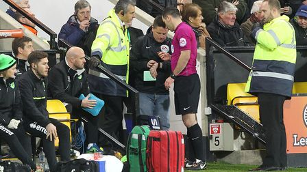 """Norwich fan David """"Spud"""" Thornhill gets ready for his stint as fourth official. Picture by Paul Ches"""