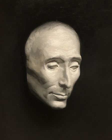 Mask cast, oil on canvas, by Olivia Crane on show at Fairhurst Gallery. Image: Olivia Crane