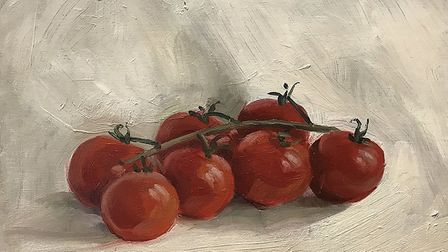 Still life with tomatoes, oil on board,by Olivia Crane 2015. Image: Olivia Crane