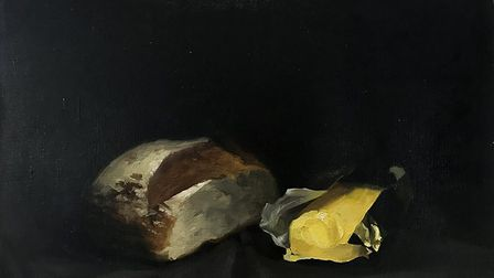 Still Life with bread and butter, oil on canvas, Olivia Crane, 2015. Image: Olivia Crane
