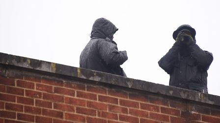 Police firearms officers on the roof of Primark for a training exercise. Picture: DENISE BRADLEY