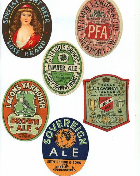 A collection of old beer labels. Picture: Courtesy Norfolk Branch of the Labologists Society