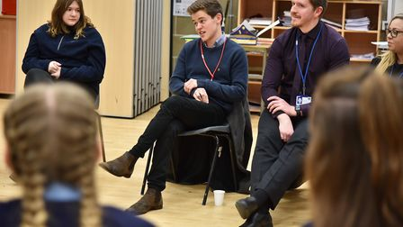 Actor, Sam Clement visits his old school, Thorpe St Andrew High to talk to drama students.Byline: So
