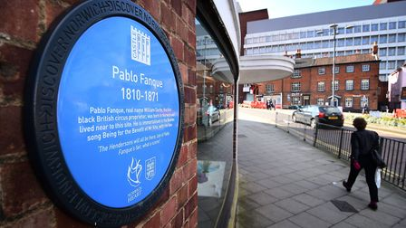 There is a plaque commemorating Pablo Fanque on the side of John Lewis. Picture: ANTONY KELLY