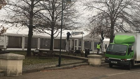 The Norwich Ice Rink is being built in Castle Mall Gardens, Photo: Courtney Pochin