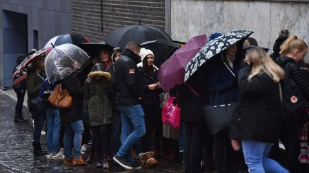 Tanya Burr book signing at Jarrolds. The weather didn't put off these keen fans. Picture: ANTONY KEL