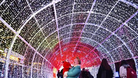 Tunnel of Light on Hayhill, Norwich. Samantha Skouros and her daughter Betty enjoying the lights.Pic